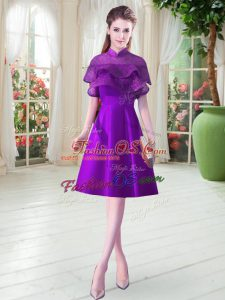 Artistic Cap Sleeves Satin Knee Length Lace Up in Eggplant Purple with Ruffled Layers