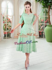 Beading Prom Evening Gown Apple Green Zipper Half Sleeves Tea Length