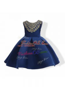 Ball Gowns Little Girl Pageant Dress Navy Blue Scoop Satin Sleeveless Mini Length Zipper