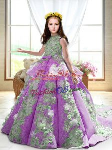 Ball Gowns Sleeveless Lilac Kids Formal Wear Court Train Backless