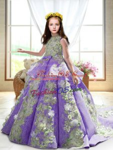 Popular Sleeveless Appliques Backless Girls Pageant Dresses with Lavender Court Train