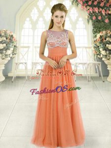 Orange Sleeveless Tulle Backless for Prom and Party and Military Ball
