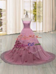Fantastic Pink Ball Gowns Hand Made Flower Ball Gown Prom Dress Lace Up Tulle Sleeveless