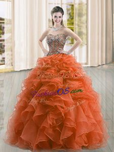 Suitable Beading and Ruffles Quince Ball Gowns Rust Red Lace Up Sleeveless Floor Length