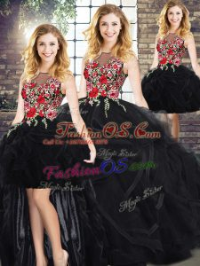 Fantastic Black Zipper Quinceanera Dresses Embroidery and Ruffles Sleeveless Floor Length