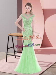 Chic Apple Green Mermaid Tulle Scoop Cap Sleeves Beading Zipper Prom Party Dress Sweep Train