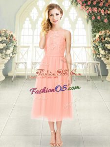 Elegant Peach Sleeveless Chiffon Zipper Dress for Prom for Prom and Party