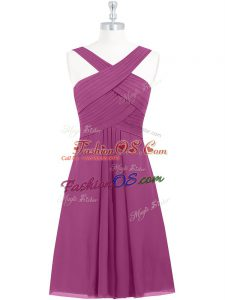 Stunning Fuchsia A-line Pleated Zipper Chiffon Sleeveless Knee Length