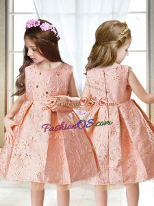 Pink A-line Satin Scoop Sleeveless Embroidery Mini Length Zipper Little Girl Pageant Gowns