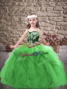 Cute Green Sleeveless Floor Length Embroidery and Ruffles Lace Up Little Girl Pageant Dress