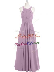 Sleeveless Zipper Floor Length Ruching Evening Dress