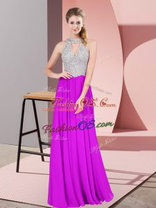 Sumptuous Empire Prom Party Dress Purple Halter Top Chiffon Sleeveless Floor Length Zipper