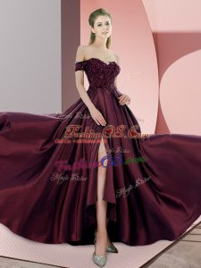 Burgundy Prom Gown Elastic Woven Satin Sweep Train Sleeveless Beading