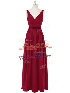 Elegant Wine Red Evening Dress Prom and Party and Military Ball with Ruching and Belt V-neck Sleeveless Zipper
