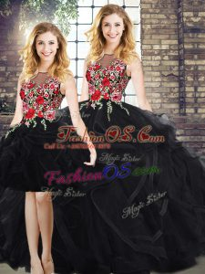Black Scoop Zipper Embroidery and Ruffles Sweet 16 Quinceanera Dress Sleeveless