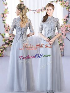 Flirting High-neck Half Sleeves Bridesmaid Dresses Floor Length Lace Grey Tulle