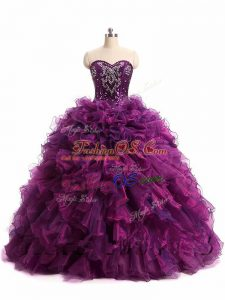 Flare Purple Organza Lace Up Sweet 16 Quinceanera Dress Sleeveless Floor Length Beading and Ruffles