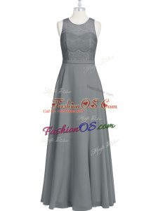 Elegant Grey Zipper Prom Evening Gown Lace and Appliques and Belt Sleeveless Floor Length