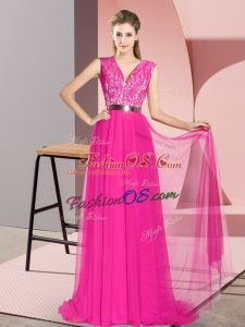 Empire Sleeveless Fuchsia Dress for Prom Sweep Train Zipper