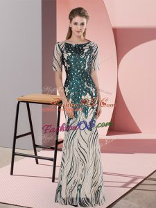 Green Mermaid Sequins Prom Gown Zipper Half Sleeves Floor Length