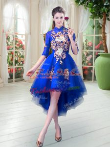 Half Sleeves Tulle High Low Zipper Evening Dress in Royal Blue with Appliques