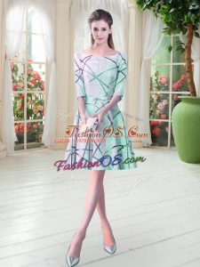 Apple Green A-line Scoop Half Sleeves Ruching Knee Length Lace Up Dress for Prom
