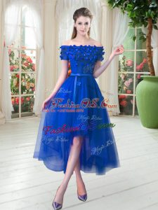 Superior Royal Blue A-line Off The Shoulder Short Sleeves Tulle High Low Lace Up Appliques Prom Party Dress
