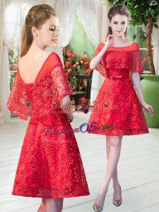 Pretty Red Scoop Neckline Beading Prom Evening Gown Short Sleeves Lace Up