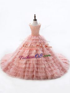 Scoop Sleeveless Kids Formal Wear Court Train Beading and Ruffled Layers Pink