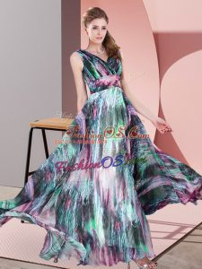 Exceptional Empire Dress for Prom Multi-color V-neck Printed Sleeveless Floor Length Lace Up