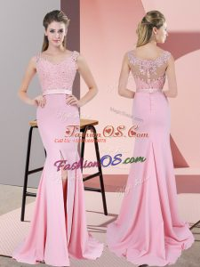 Free and Easy Baby Pink Prom Gown Prom and Party and Military Ball with Lace and Appliques V-neck Sleeveless Sweep Train Zipper