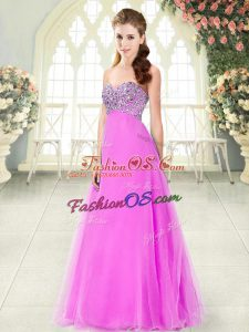 Super Sleeveless Tulle Floor Length Lace Up Dress for Prom in Pink with Beading