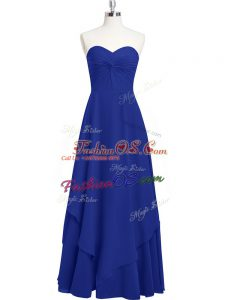 Attractive Royal Blue Empire Sweetheart Sleeveless Chiffon Floor Length Zipper Pleated Prom Dresses