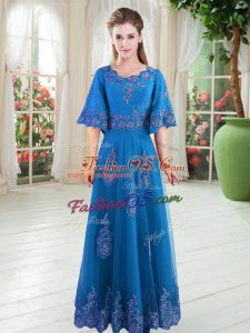 Flirting Floor Length A-line Half Sleeves Blue Lace Up