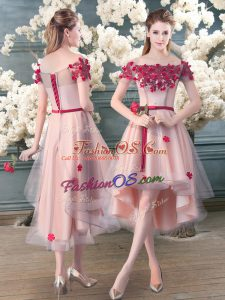 Customized Pink Short Sleeves High Low Appliques Lace Up Prom Party Dress