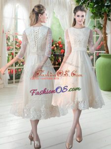 Low Price Champagne Lace Up Scoop Lace Prom Party Dress Tulle 3 4 Length Sleeve