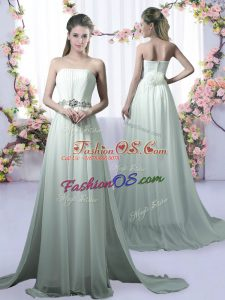 Apple Green Empire Strapless Sleeveless Chiffon Brush Train Beading Bridesmaid Dresses