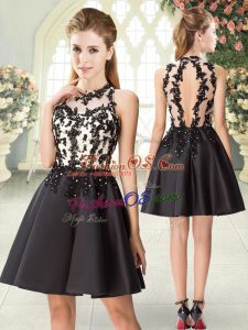 Affordable Black High-neck Neckline Beading and Appliques Prom Party Dress Sleeveless Backless