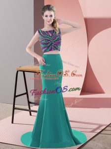 Scoop Sleeveless Prom Evening Gown Sweep Train Beading Turquoise Satin