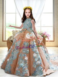 Dramatic Sleeveless Satin Court Train Backless Girls Pageant Dresses in Peach with Appliques