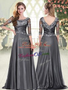 Glittering Grey Prom and Party and Military Ball with Beading and Lace and Appliques Scalloped Half Sleeves Zipper