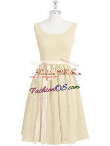 On Sale Mini Length Zipper Dress for Prom Light Yellow for Prom and Party with Belt