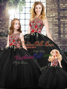 Elegant Black Zipper Sweet 16 Dresses Embroidery Sleeveless Floor Length