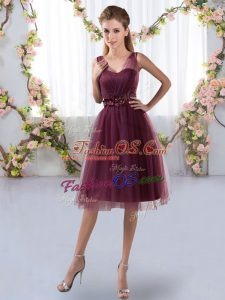 Knee Length Zipper Bridesmaid Gown Burgundy for Prom and Party and Wedding Party with Appliques
