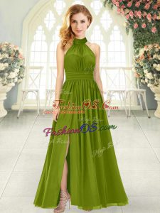 Halter Top Sleeveless Zipper Prom Dress Olive Green Chiffon