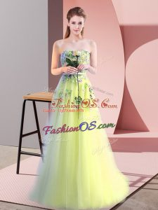 Flirting Sleeveless Floor Length Appliques Lace Up Evening Dress with Yellow Green