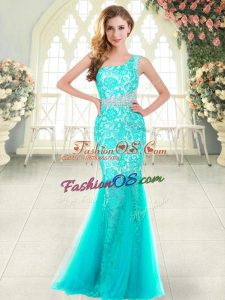 Custom Designed One Shoulder Sleeveless Zipper Homecoming Dress Aqua Blue Tulle