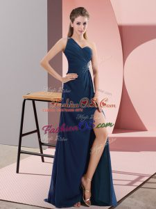 Navy Blue Prom Gown One Shoulder Sleeveless Sweep Train Backless