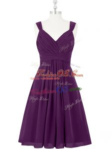 Classical Purple Straps Zipper Ruching Dress for Prom Sleeveless