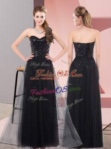 Black Sleeveless Floor Length Sequins Lace Up Dress for Prom